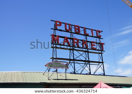 SEATTLE - JUN 3, 2016 - Sign  for the Pike Place Public Market near  the Seattle waterfront - stock photo