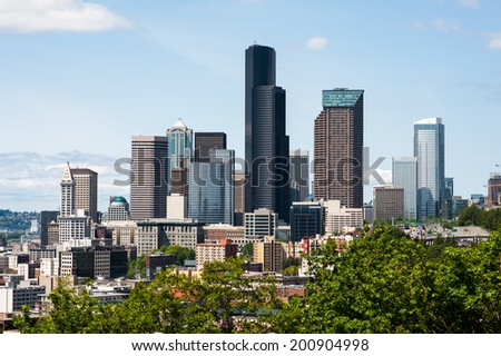 SEATTLE - MAY 11: A view of the Seattle skyline as seen from the south on May 11, 2014. - stock photo