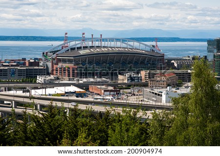 SEATTLE - MAY 11: Century Link Field, home stadium of the Seattle Seahawks and Seattle Sounders, seen on May 11, 2014 in Seattle. - stock photo