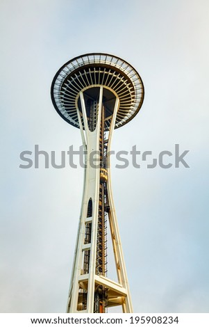SEATTLE - MAY 9: Famous Space Needle on May 9, 2014 in Seattle, WA. It's an observation tower in Seattle, Washington, a landmark of the Pacific Northwest, and a symbol of Seattle. - stock photo