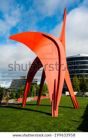 SEATTLE - MAY 9: The Olympic Sculpture Park overlooks the Puget Sound on May 8, 2014 in Seattle. - stock photo