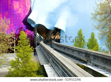 Seattle Monorail track - stock photo