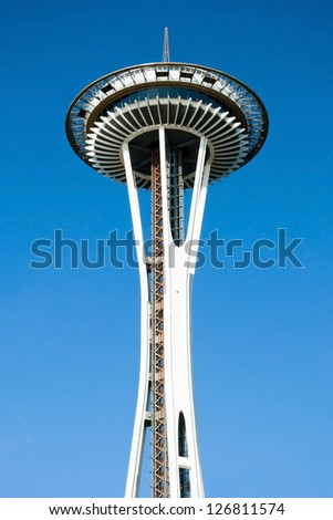 SEATTLE - OCTOBER 26, : Space Needle in Seattle on October 26, 2011 in Seattle, USA. The Space Needle was built in 1962 and is a symbol of that year's World's Fair. - stock photo