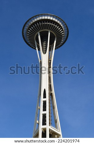 SEATTLE OCTOBER 03: Space needle on October 03, 2014 in Seattle. The Space Needle is an observation tower, a landmark of the Pacific Northwest, and a symbol of Seattle. - stock photo