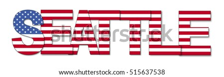 Seattle overlapping flag text illustration