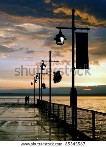 Seattle pier at dusk - stock photo