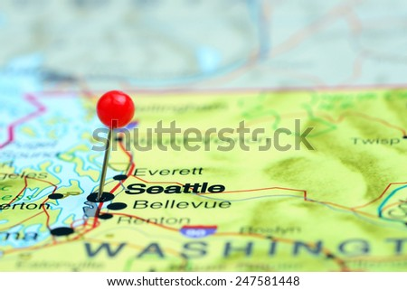 Seattle pinned on a map of USA  - stock photo