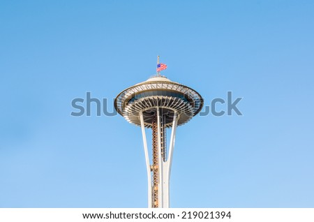 SEATTLE - SEPTEMBER 9: Famous Space Needle on September 11, 2014 in Seattle, WA. It's an observation tower in Seattle, Washington, a landmark of the Pacific Northwest, and a symbol of Seattle. - stock photo