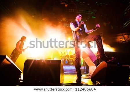 SEATTLE - SEPTEMBER 1, 2012:  Rock band Jane's Addiction performs on the main stage at Key Arena during the Bumbershoot music festival in Seattle on September 1, 2012. - stock photo