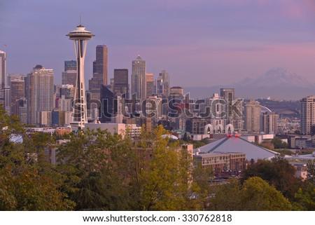 Seattle skyline and buildings at sunset Washington state. - stock photo