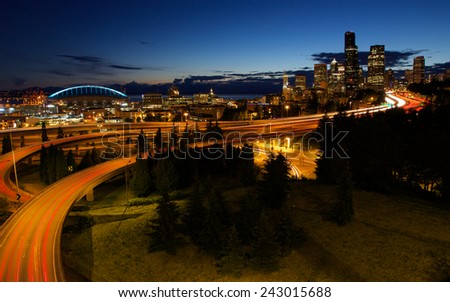 Seattle Skyline and Interstate - stock photo