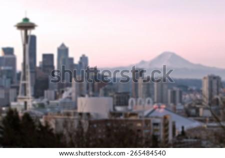 Seattle skyline background blurred effect  - stock photo