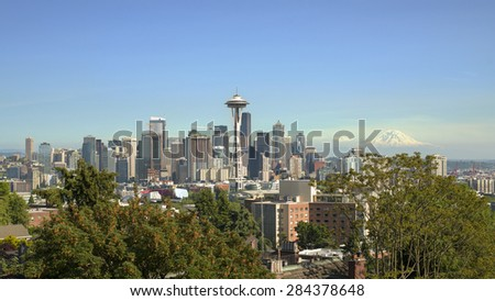 Seattle Skyline from Kerry Park - stock photo