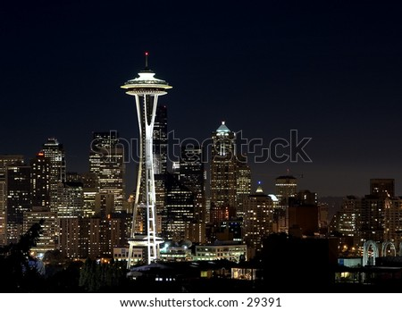 Seattle skyline from Queene Anne Hill. - stock photo