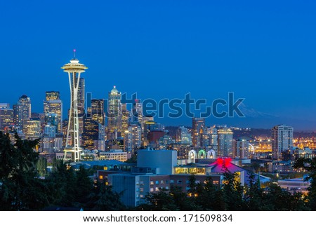 Seattle Skyline & Mt Rainier - stock photo