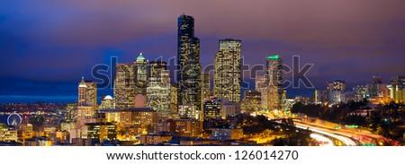 Seattle skyline panorama at dusk, WA, USA - stock photo