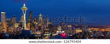 Seattle skyline panorama at dusk, WA, USA - stock photo