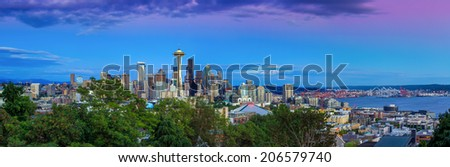 Seattle skyline panorama at sunset as seen from Kerry Park, Seattle, WA - stock photo