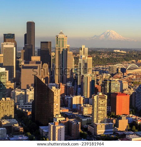 Seattle skyline panorama at sunset as seen from Space Needle Tower, Seattle, WA - stock photo