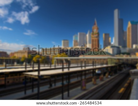 Seattle Skyline viewed over Kings Street Station - stock photo