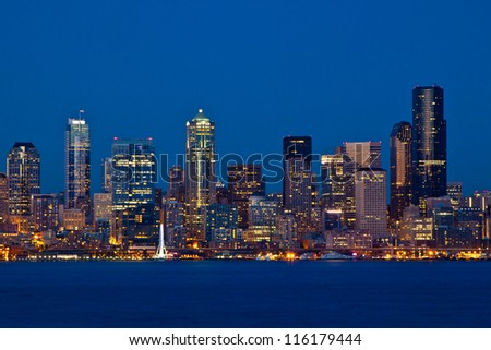 Seattle Skyline, Washington as seen from Alki Beach - stock photo