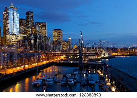 Seattle skyline, waterfront and Great Wheel at twilight, WA