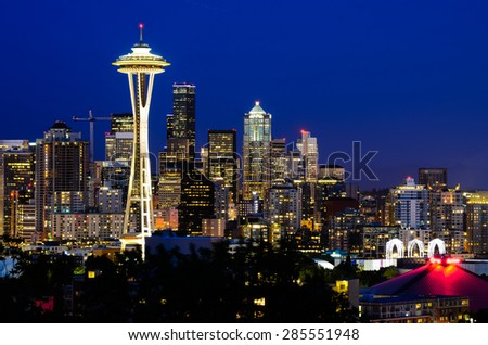 Seattle skylines in blue hour, the view from Kerry Park in Queen Anne Hill, Seattle, Washington State, USA. - stock photo