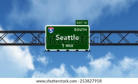 Seattle USA Interstate Highway Sign 3D Illustration - stock photo