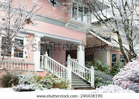 Seattle vintage houses in the snow. Capitol Hill neighborhood. - stock photo