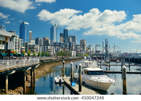 SEATTLE, WA - AUG 14: Downtown waterfront view on August 14, 2015 in Seattle. Seattle is the largest city in both the State of Washington and the Pacific Northwest region of North America - stock photo
