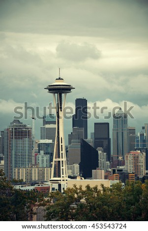 SEATTLE, WA - AUG 14: Space Needle and city downtown on August 14, 2015 in Seattle. Seattle is the largest city in both the State of Washington and the Pacific Northwest region of North America - stock photo