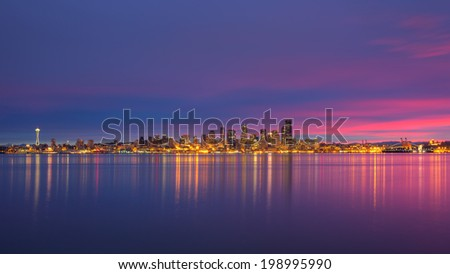 Seattle, WA in the morning before the sun comes up. - stock photo