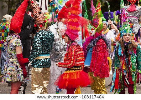SEATTLE, WA - JUNE 16, 2012: Members of the Jabberwokey performance troupe in their colorful costumes before the annual Fremont Summer Solstice Day Parade. The parade celebrates the start of summer.