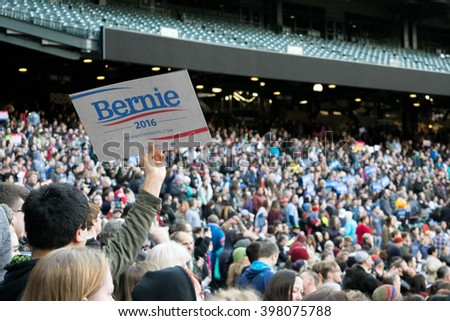SEATTLE, WA -: March 25, 2016:Supporters gather at Safeco Field to show their support for presidential candidate, Bernie Sanders. - stock photo