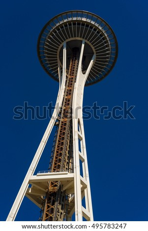 SEATTLE, WA - SEPTEMBER 10, 2016: Since its construction for the 1962 World's Fair, the Space Needle has been Seattle's premier landmark and attraction, with indoor and outdoor observation decks.