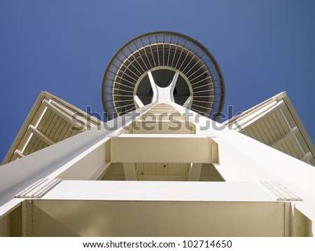 SEATTLE, WASHINGTON - APRIL 14, 2012: The Space Needle celebrates its 50th anniversary as a Seattle landmark after its construction for the 1962 World's Fair. Seattle, April 14, 2012. - stock photo