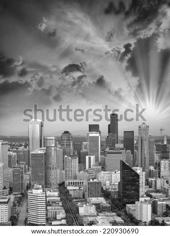 Seattle, Washington. Beautiful city skyline with tall skyscrapers at sunset. - stock photo