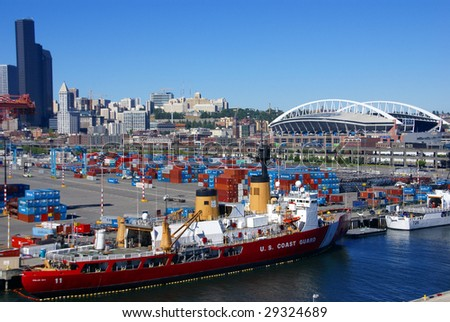 SEATTLE, WASHINGTON - JUN 27:  US Coast Guard ship docks on Seattle waterfront June 27, 2008 in Puget Sound, Pacific Northwest, Seattle. - stock photo