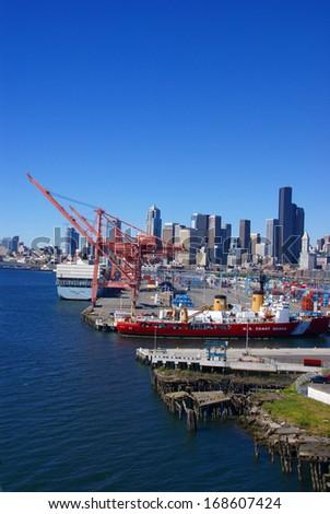 SEATTLE WASHINGTON 27 JUN 2008 -  US Coast Guard ship on Seattle waterfront, Puget Sound,  Pacific Northwest - stock photo
