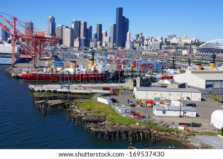 SEATTLE WASHINGTON 27 JUN 2008 -  US Coast Guard ship on Seattle waterfront, Puget Sound,  Pacific Northwest - stock photo