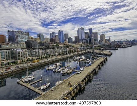 Seattle Washington looking East   - stock photo