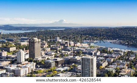 SEATTLE, WASHINGTON - SEPTEMBER, 2013: Aerial panoramic view of Seattle University of Washington District Neighborhood, Mt Rainer, and Lake Washington