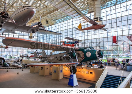 SEATTLE, WASHINGTON STATE, USA - OCTOBER 28, 2015: The Museum of flight is the  the largest private air and space museum in the world. - stock photo