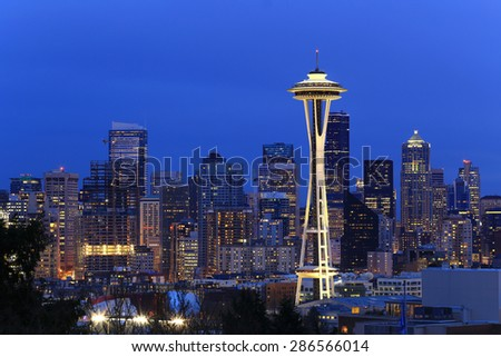 Seattle, Washington, USA - March 2, 2015_Space Needle, Seattle Skyline, view from Kerry Park