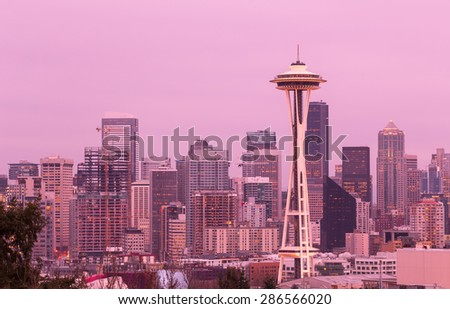 Seattle, Washington, USA - March 2, 2015_Space Needle, Seattle Skyline, view from Kerry Park - stock photo