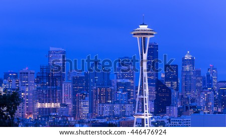 Seattle, Washington, USA - March 2, 2015_The Space Needle, Seattle Skyline, view from Kerry Park. The Space Needle was built in Seattle Center for the 1962 World's Fair.