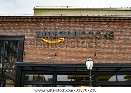 SEATTLE, WASHINGTON/USA - NOVEMBER 2015: Amazon opens its first real life brick and mortar bookstore called Amazon Books in Seattle's University Village