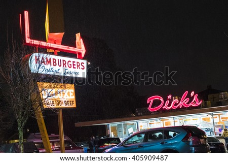 SEATTLE, WASHINGTON/USA - November 2015: Dick's Hamburgers original restaurant opened in 1954 in Seattle's Wallingford neighborhood, on N.E. 45th Street