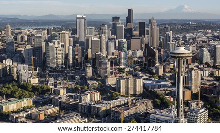 SEATTLE, WASHINGTON/USA - SEPTEMBER 19 2013: Seattle Downtown Skyscrapers and Waterfront - stock photo