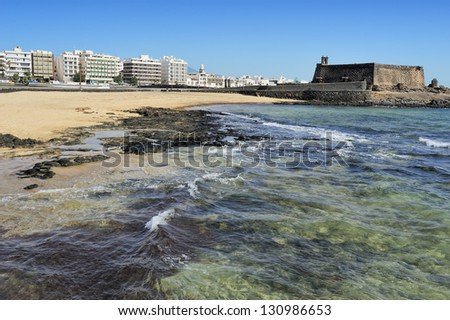 seaview at Arrecife and Castle of San Gabriel, Lanzarote, Canary Islands, Spain